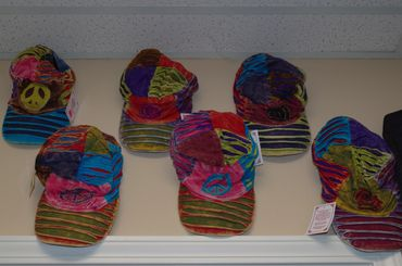 Peace sign hats from Karma Care in Columbia, MO